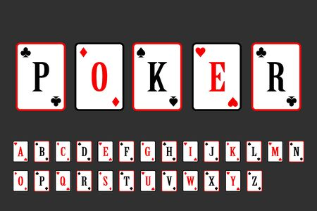 poker cards alphabet. lettering gambling card vector illustration. alphabet playing cards.