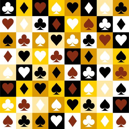 yellow backgrounds card suits. Vector playing cards suits seamless patterns. Фото со стока - 130527323