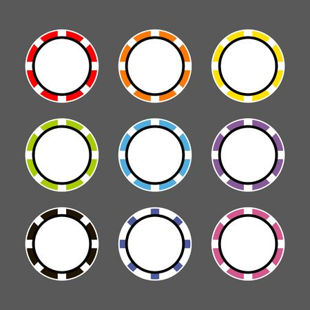 top view. Set of casino chips. vector poker chip. icon.