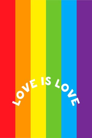 Love is love lettering on a rainbow pride flag. Modern poster, cards design. Vector LGBT rights concept.