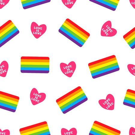 Design element for fabric, banner, wallpaper or gift wrap, poster. Colorful seamless pattern with heart and LGBT flag. Vector seamless pattern with gay flag. LGBT pride symbol.