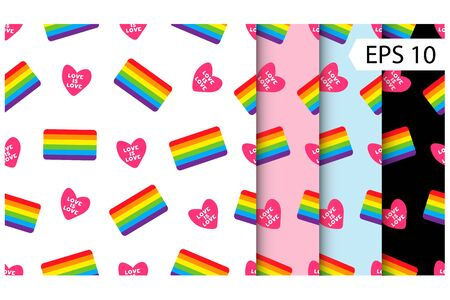 set colorful seamless pattern with heart and LGBT flag. Vector seamless pattern with gay flag. LGBT pride symbol. Design element for fabric, banner, wallpaper or gift wrap, poster.