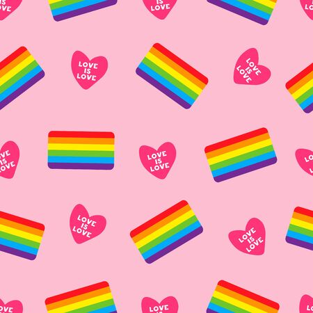 pink vector seamless pattern with gay flag. Colorful seamless pattern with heart and LGBT flag. LGBT pride symbol. Design element for fabric, banner, wallpaper or gift wrap, poster. 向量圖像