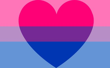 Homosexual love emblem. Vector Illustration lgbt bisexual flag with a heart. bisexual love concept. pride flag and LGBT pride flag. 向量圖像