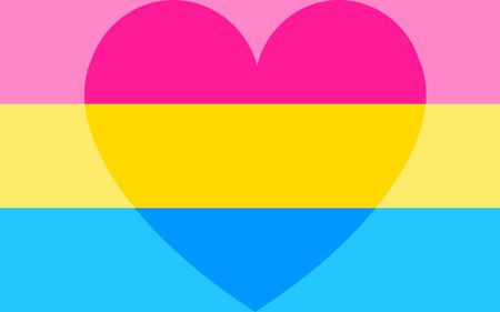 LGBT pride flag. Vector Illustration lgbt pansexual flag with a heart. pansexual love concept. 向量圖像