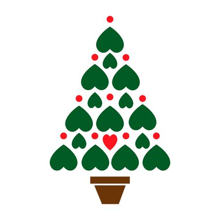 New Year tree made with hearts. Vector card with christmas tree made from hearts and dots. Abstract cute decorative illustration for invitation.