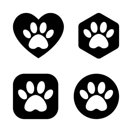 vector cat and dog paw print logo. The paw track in the heart, circle, square, hexagon.