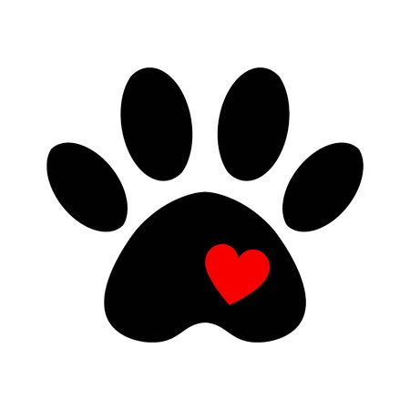 love pet icon logo. trail of dog with heart isolated on white background. Stock Illustratie