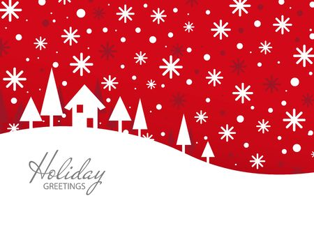 xmas holiday greetings. red Christmas and New Year card. Vector Illustration. Snow landscape background.