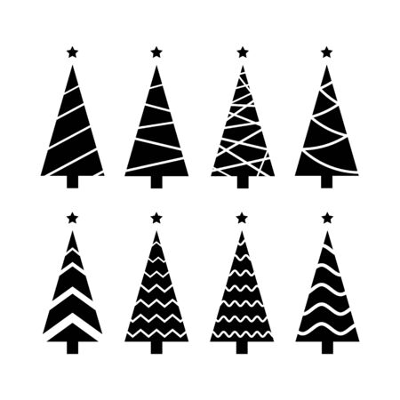 collection Christmas tree black for icon, logo, card, decor. set of vector tree silhouette isolated on white background.