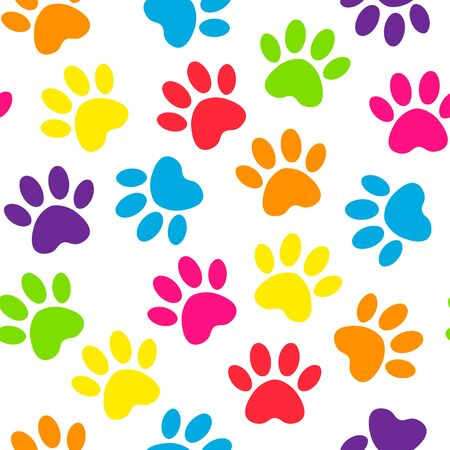 backdrop with silhouettes of cat or dog footprint. Paw print multicolored seamless. Vector illustration animal paw track pattern.