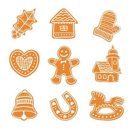 Set of Gingerbread cookies Christmas. Christmas cookies collection with gingerbread cookies figures - bell, gingerbread men, heart, rocking horse, house, horseshoe, chapel, glove, mistletoe . Ilustracja