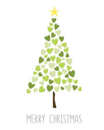 New Year tree made with hearts. Vector card with christmas green tree made from hearts and dots. Abstract cute decorative illustration for invitation.