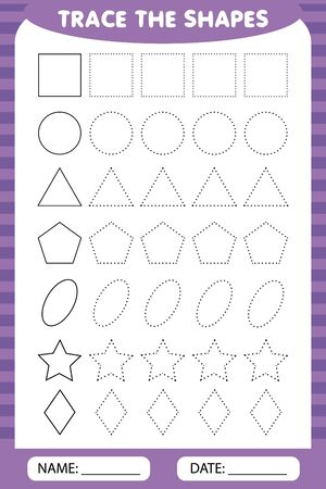 learning for children, drawing tasks. simple lesson figures. trace the geometric shapes around the contour - circle, square, rhombus, triangle, oval, star. Zdjęcie Seryjne - 132051131