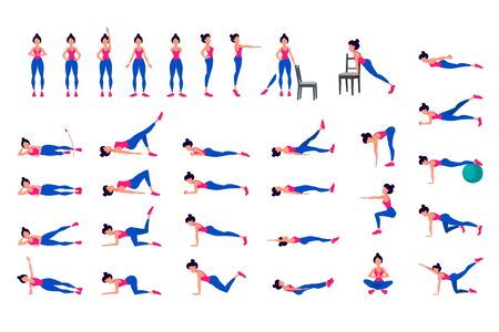 Fitness cardio exercises. abstract isolated vector illustration. yoga poses in flat design. woman is doing exercise for body stretching. Healthy lifestyle. 向量圖像