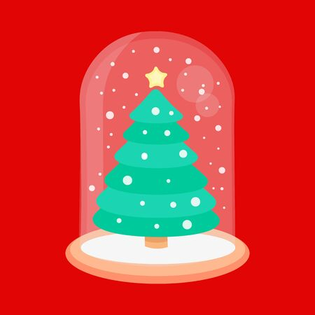 New year glass ball vector icon. Christmas snow globe with a fir-tree inside in flat style. 向量圖像