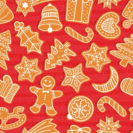 Gingerbread men and Christmas tree, star, bell, house, cane, heart, ball, crescent, present, mistletoe. Vector Christmas seamless pattern with gingerbread cookies. Festive baking for winter holidays.