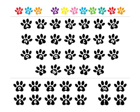 Vector black footprints alphabet. Font typography with animal paw prints. Alphabet with pet foot prints. 向量圖像