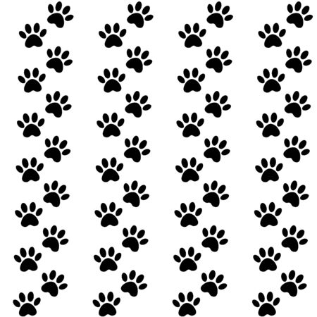 backdrop with silhouettes of cat or dog footprint. Vector illustration animal paw track pattern. Paw black print seamless. 向量圖像