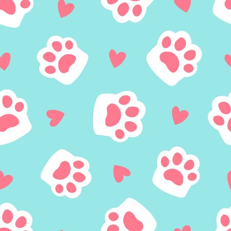Paw seamless pattern footprint and heart. simple cartoon flat style vector illustration. cute cat paw on blue background.