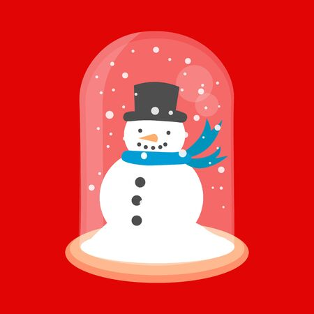 New year glass ball vector icon. Christmas snow globe with a snowman inside in flat style.