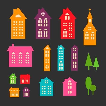 Christmas abstract style houses. Vector set of illustrations of colored houses. Design elements for cards, posters, banner. 向量圖像