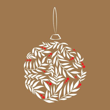 Vector Fashion Merry Christmas and New Year ball with leaves. Christmas print. style with simple xmas design for holiday card, poster, or party invitation. 向量圖像