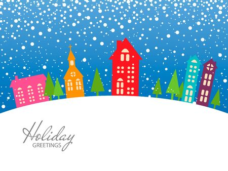 colorful Christmas and New Year card.xmas holiday greetings. Vector Illustration. Snow landscape background.