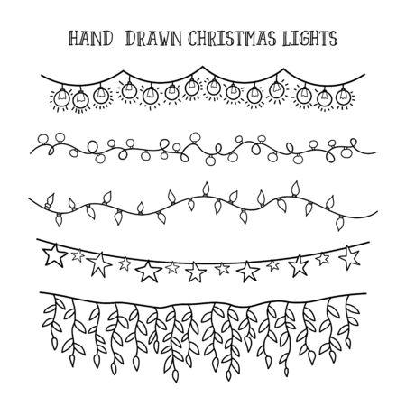 świąteczna girlanda do wystroju rysunku doodle. wektor zestaw ręcznie narysować lampki świąteczne.