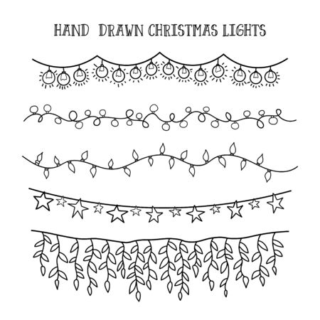 festive garland for decor drawing doodle. vector set hand draw christmas lights. 向量圖像