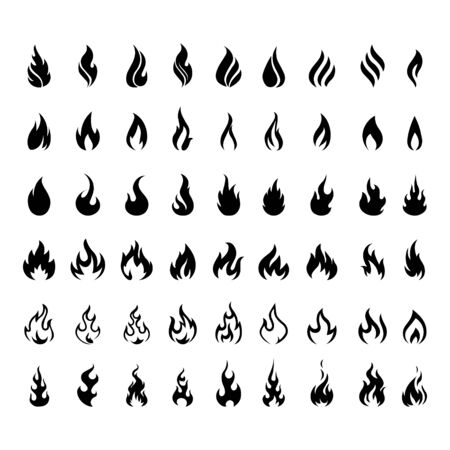 Vector set of icons for fire. flame icons.