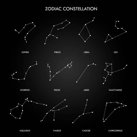 Set of zodiac constellation on the black background. space and stars. Set of symbol zodiac sign, constellations. lines and points. Star chart, map.
