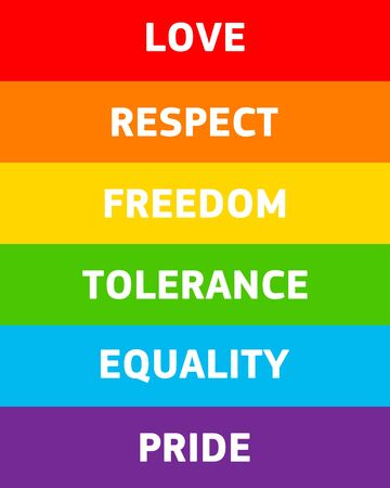 poster lettering on a rainbow pride flag. Vector LGBT rights concept. cards design