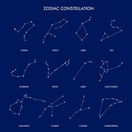 Set of zodiac constellation on the blue background. space and stars. Set of symbol zodiac sign, constellations. lines and points. Star chart, map.