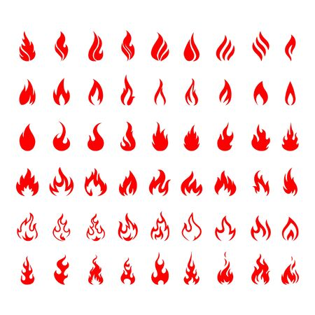 Vector set of icons for fire. flame icons. Flame logo, fire icon. 向量圖像