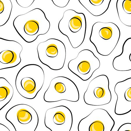 Breakfast background. Seamless food vector pattern. hand drawn scrambled eggs. Flat illustration for textile, wallpaper, wrapping paper, scrapbooking. Broken eggs seamless pattern.