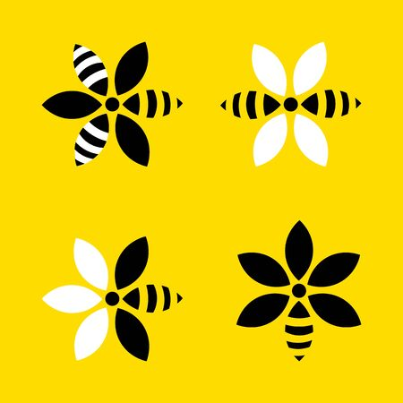 flower honey logo. Bees flower logo collection vector graphic abstract template. natural farmer flower honey.