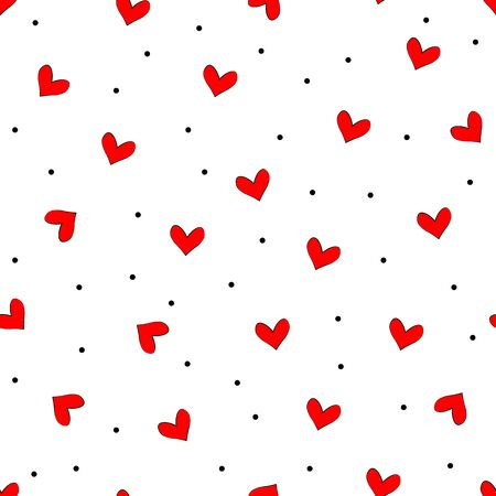 Stylish cute texture. Vector seamless simple repeating texture with chaotic red hearts. 向量圖像