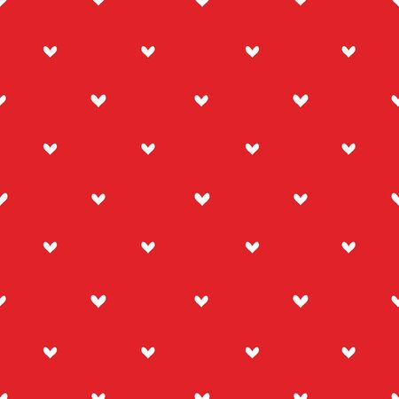 Repeating texture with hearts. Hearts symmetric vector seamless pattern. White hearts on red background. Diagonal hearts.