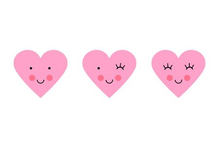 Love heart smiley set Valentines Day. Vector illustration of emoticons pink icon set in flat style.