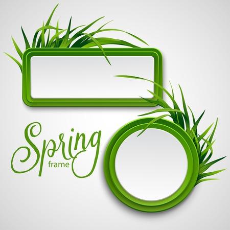 草で春のフレーム。ベクトル イラスト EPS 10  イラスト・ベクター素材