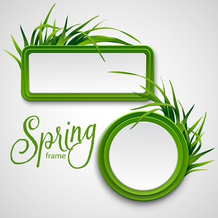 spring summer: Spring frame with grass. Vector illustration EPS 10