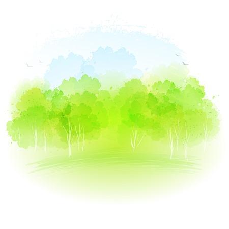 Vector acuarela frash paisaje de primavera EPS 10