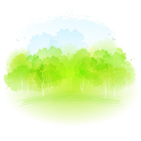 spring summer: Vector watercolor frash spring landscape EPS 10 Illustration