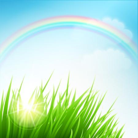 campo de flores: Limpie la primavera paisaje incre�ble. Ilustraci�n del vector EPS 10 Vectores