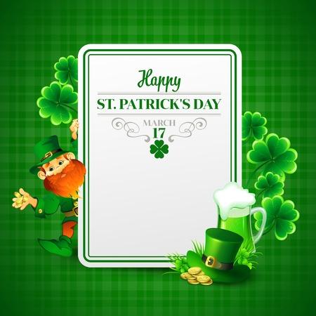 leprechaun on clover: Saint Patricks day vector illustration with Leprechaun  EPS 10