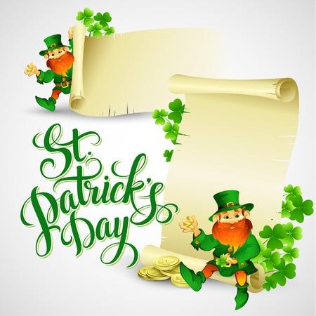 leprechaun background: Saint Patricks day vector illustration with Leprechaun EPS 10 Illustration