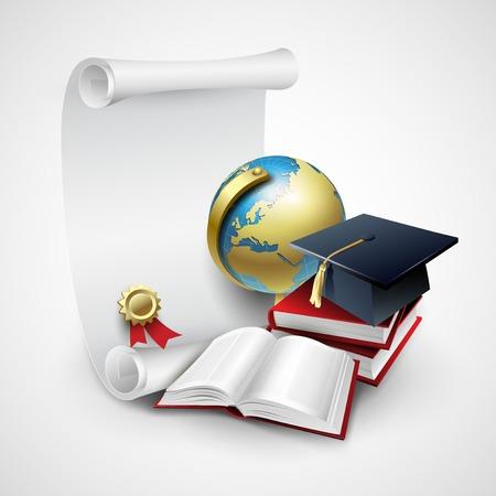 Objecten voor diploma-uitreiking. Vector illustratie EPS 10