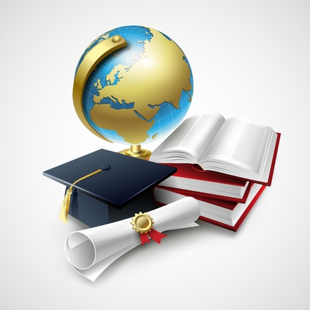 master degree: Objects for graduation ceremony. Vector illustration  EPS 10