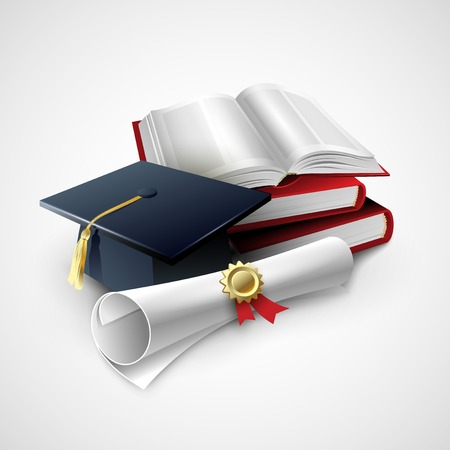 Objects for graduation ceremony. Vector illustration  EPS 10
